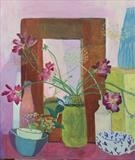 Still life with mirror by Suzy Fasht, Painting, Gouache