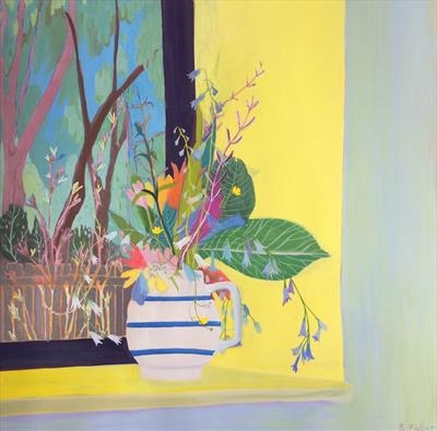 Wilds flowers at a window by Suzy Fasht, Painting, Gouache